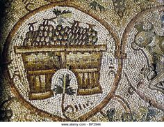 MOSAIC FLOOR OF A 5TH. C. SYNAGOGUE IN NIRIM NORTHERN NEGEV. DETAIL DEPICTING A ESPECIALLY DESIGNED BASKET TO BE - Stock Image