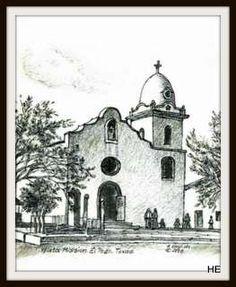 Ysleta Mission El Paso, TX Texas, Patron Saints, Charcoal Drawing, Corpus Christi, Religious Art, Taj Mahal, Old Things, Challenges, El Paso