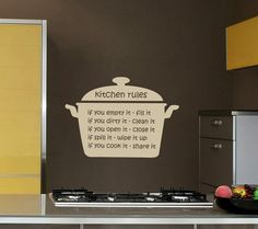 Kitchen Rules Wall Decal - Vinyl Wall Art