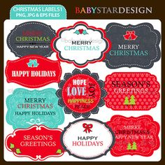 Christmas Labels 1 Clipart Set by babystardesign on Etsy, $6.00