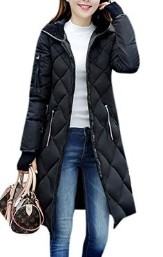 Lingswallow Womens Winter Thickened Hooded Long Down Jacket Parka Coat Black *** You can find more details by visiting the image link. (Note:Amazon affiliate link)