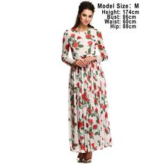 ACEVOG Summer Dress Fashion Women Ladies Tunic Maxi Long Chiffon Dress Black White Floral Plus Size S-XXXL Vestidos Long Sleeve