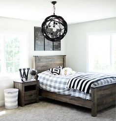 The paint color here is Behr Silver Drop. Kids Bedroom Paint, Painted Bedroom Furniture, Boys Bedroom Decor, Farmhouse Bedroom Decor, Bedroom Paint Colors, Trendy Bedroom, Kitchen Furniture, Bedroom Ideas, Furniture Stores