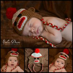 Infant to Toddler Crocheted Sock Monkey Hat with Earflaps and Braids - Color of your choice. $19.00, via Etsy.