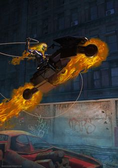 Ghost rider fan art. Marvel Comics Art, Marvel Dc, Spiderman Vs Superman, Ghost Rider, Comic Art, Comic Book, Marvel Universe, Cool Drawings, Painting & Drawing