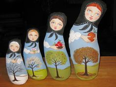 Four Seasons Matryoshka Stump Dolls by Hally Levesque- set of four hand-painted cloth stump dolls styled after Russian nesting dolls.