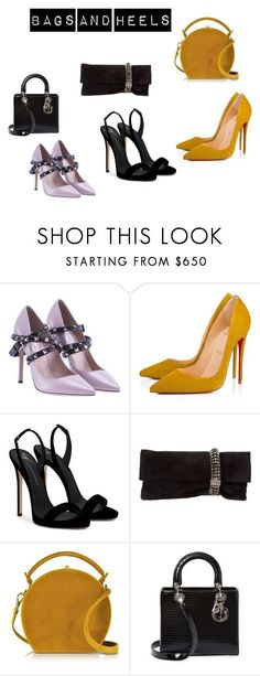 """Basgs and Heels #3"" by jazzybell27 ❤ liked on Polyvore featuring Valentino, Christian Louboutin, Giuseppe Zanotti, Jimmy Choo, Bertoni, Christian Dior and stylin"