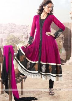 Designer pattern beautiful magenta salwar suit embellished with thread work. Stones studded front panel and fancy lace at hem enhances its beauty. It will look good for semi-formal parties. http://goodbells.com/salwar-suits/designer-pattern-magenta-salwar-kameez.html