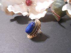 Royal blue stone ring. Genuine Brazilian indigo by CharismaBolivia