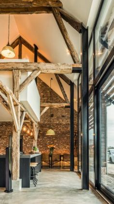 Converting an old farm into a warm industrial farmhouse with big view on an old brick wall, original wooden beams and the beautiful area around the farmhouse. by eddie Warm Industrial, Industrial Farmhouse, Industrial House, Modern Farmhouse, Vintage Industrial, Industrial Style, Farmhouse Style, Industrial Lighting, Industrial Furniture