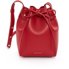 MANSUR GAVRIEL Mini Mini Calf Leather Bucket Bag ($475) ❤ liked on Polyvore featuring bags, handbags, shoulder bags, mansur gavriel, red purse, calfskin handbag, mini bucket bags and calfskin leather handbags