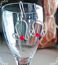 """Σκουλαρίκια """"καμπανάκια"""" από επάργυρο σύρμα και κόκκινα κρυσταλλάκια Τσεχίας..!!"""