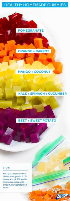 These DIY fruit and veggie gummies are so much healthier than what you'll find in a store. Plus, you can make them in bulk for easy lunch or after-work snacks. Just mix 1 ½ cups of fruit or veggie juice with 4 tablespoons of plain gelatin in a saucepan. Whisk it smooth, then stir in 3 tablespoons of honey and ½ teaspoon of vanilla (you can lighten the color by adding a little bit of coconut milk). Chill in a Ziploc®️️ container in the fridge for 2-3 hours, then cube! Homemade Toddler Snacks, Toddler Food, Fruit Snacks Homemade, Jello Fruit Snacks, Healthy Snacks For Toddlers, Jello With Fruit, Kid Snacks, Homemade Baby Foods, School Snacks