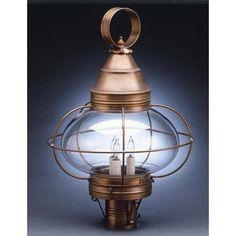 Northeast Lantern Onion Caged 3 Light Lantern Head Finish: Raw Brass, Shade Type: Clear Seedy