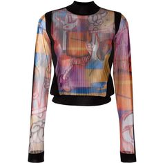 Maison Margiela sheer printed blouse ($1,240) ❤ liked on Polyvore featuring tops, blouses, black, see through blouse, sheer long sleeve top, multi color blouse, sheer print blouse and stripe blouse