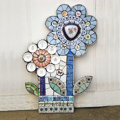 Window Box Vintage Crockery Mosaic Wall Art by Anna Tilson