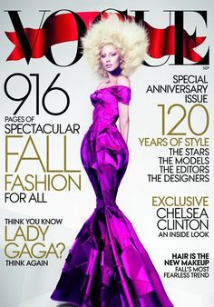 ….and here is Gaga's Vogue September issue cover. The special anniversary issue is 916 pages…..I am so ready.  Photo by Mert and Marcus
