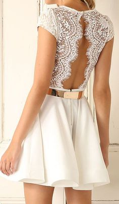 V Neck Lace Insert Open Back Pleated Dress