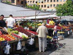 Farmers Market, Stockholm Sweden. Best strawberries EVER!