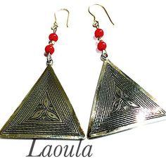 Boucles d'oreilles ethniques en argent, bijoux orientaux en agate 267633