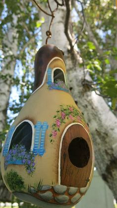 Painted cottage gourd birdhouse antique mum with by MyPaintedSwan Bird Houses Painted, Bird Houses Diy, Painted Cottage, Doll Houses, Hand Painted Gourds, Decorative Gourds, Hobbies And Crafts, Crafts To Make, Diy Crafts