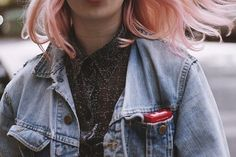 Buttoned up shirt + faded denim jacket (+ pastel hair)