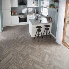 """The smokey grey tones and sleek appearance of our Fumo design will work effectively in both traditional and modern homes, from entranceways to luxurious bathrooms. Available in both a 3"""" x 18"""" parquet plank and corresponding full plank in a 18"""" x 24"""" size. Order your free sample today! Kitchen Inspiration, Design Inspiration, Luxurious Bathrooms, Limestone Flooring, Modern Homes, Lake District, Apartment Ideas, Plank, Traditional"""