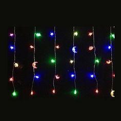 Islamic Star Moon Led Curtain Lights String Lights 50 Led for Ramadan Eid Mubarak Led Curtain Lights, Led String Lights, Ceiling Lights, Ramadan Decorations, Birthday Party Decorations, Holiday Decorations, Welcome Holidays, Wedding Places, Eid Mubarak