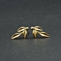 Gold Olive Leaves Small Earrings, Olive Twig Stud Earrings, Olive Branch Delicate Earrings, Greek Goddess Athena Symbol, Greek Jewelry https://etsy.me/2xGrwNe #jewelry #earrings #gold #wedding #women #pushback #goldearrings #leafearrings #goldolivetwig