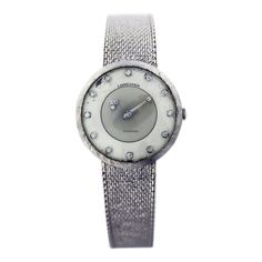 Longines Vintage 14k White Gold Mystery Dial Watch $3,995 #Longines #style #watch #watches #chronograph white gold case with white gold bracelet and manual winding