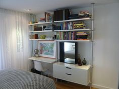 Ikea Stolmen storage system used for wardrobe and work area.