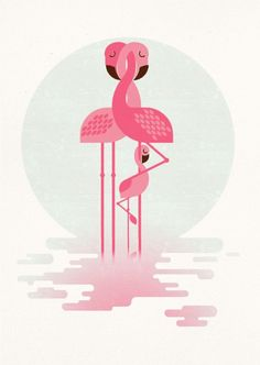 Flamingo and Chick - Full-frontal image, unframed