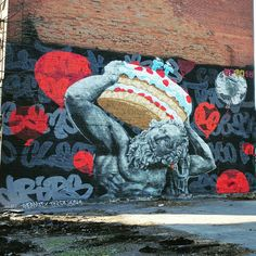 Carrying the weight of getting older? Street Art found in Montreal, Canada