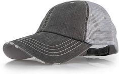 7848ea01f0c25c Baseball Trucker Distressed Vintage Denim Mesh Adjustable Cap (Denim Grey)  at Amazon Men's Clothing