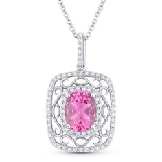 1.82ct Oval Cut Pink Lab-Sapphire & Diamond Edwardian-Style Pendant & Chain Necklace in 14k White Gold - AlfredAndVincent.com