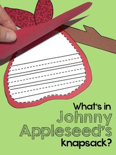 """Johnny Appleseed writing craft: Templates for both """"What's In Johnny's Knapsack?"""" and """"Who Was Johnny Appleseed? Anchor Charts First Grade, Kindergarten Anchor Charts, Writing Anchor Charts, Teaching Kindergarten, Apple Activities, Teaching Activities, Holiday Activities, Teaching Ideas, 1st Grade Writing"""