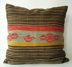 Sukan / SOFT Hand Woven - Turkish Patchwork Kilim Pillow Cover - 24x24