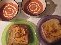 Fun Halloween lunch idea! Spider web tomato soup and jack-o-lantern grilled cheese!