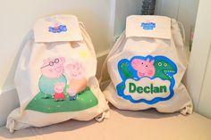 Decoupage bags for my nephews. All kids love George & Peppa pigs. Japanese S, Decoupage Art, All Kids, Everyday Items, Peppa Pig, Paper Napkins, Pigs, Purses And Bags, Cute