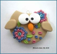 NEW Polymer Clay Appliqued Owl Pendant por michellesclaybeads
