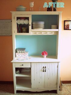 hip2thrift: Thrift Store Kitchen Hutch redo - tutorial   LOVE this! it would look so cute in my kitchen