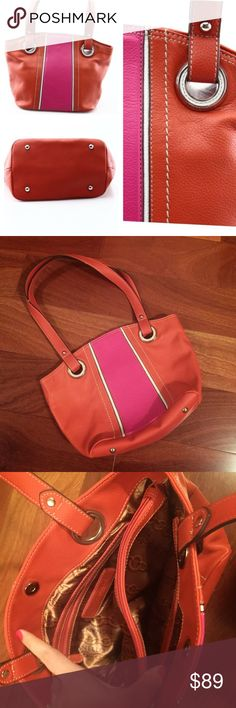 """Tignanello Italian Leather Purse Pre-Owned in great condition. Tiny knick on edge of handle which can be seen in second photo. Beautiful hot pink and orange leather purse by Tignanello. 13"""" wide, 6"""" deep, 9"""" tall, 12"""" strap drop. Tignanello Bags Shoulder Bags"""