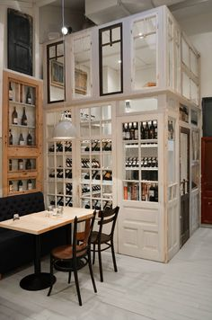 Romanian architects Cristian Corvin has recently designed the BON restaurant in Bucharest. Central Bucharest and Romania in general, goes these days through a Old Doors, Windows And Doors, Vintage Home Decor, Vintage Furniture, Restaurant Design, Cafe Restaurant, Old Window Projects, Reclaimed Doors, Cool Ideas