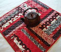 Red Black Table Topper Scrappy Quilted by atthebrightspot on Etsy, $42.00