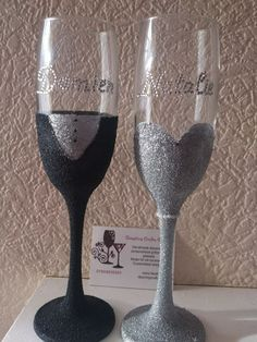 Personalised with diamantes, Bride and groom glitter champagne flutes http://www.dazzlingcrafty.uk/
