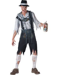 mens octoberfest zombie costume - even the undead like to party. your Oktoberfest zombie wears a character mask, tattered shirt and lederhosen. tattered mesh strands and a hat finish your back-from-the-dead look. Halloween Zombie, Zombie Man, Halloween 2017, Spirit Halloween, Halloween Stuff, Halloween Ideas, Happy Halloween, Halloween Party, Freaky Memes