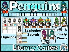 This package offers PENGUINS literacy centers for kindergarten students.