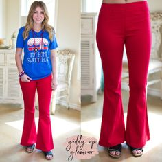 Around Again Flare Bell Bottom Pants with Elastic Waistband in Red – Giddy Up Glamour Boutique Country Girls Outfits, Country Girl Style, Cowgirl Outfits, Cowgirl Clothing, Cowgirl Fashion, My Style, Bell Bottom Pants, Bell Bottoms, Gypsy Cowgirl
