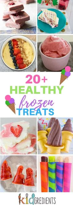20+ healthy frozen treats for the summer!  Ice creams, nice creams, ice pops and other yummy frozen ideas! #kidsfood #healthykidsfood #icecream #icepops #iceblocks  via @kidgredients