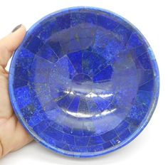 """Lapis Lazuli Gem Stone Bowl Hand Carved Healing Extra Large 6.25"""" - 487 Grams in Collectibles, Rocks, Fossils & Minerals, Crystals & Mineral Specimens 